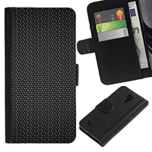 Ihec-Tech / Flip PU Cuero Cover Case para Samsung Galaxy S4 IV I9500 - Black hex pattern