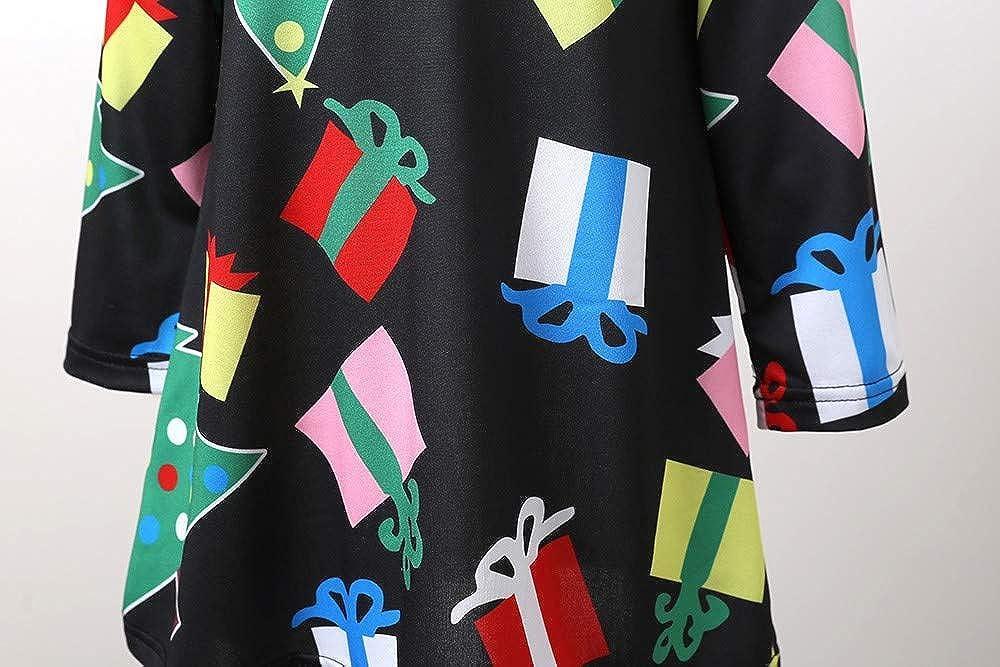 7080bc60701b feiXIANG Vestito da Principessa delle Feste Vestito Stampa Albero di Natale  Pupazzo e Fiocco di Neve Abito per Festa di Nozze Abiti da Sposa Damigella  ...