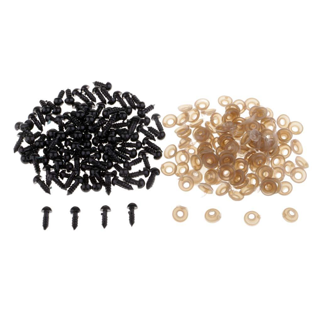 B Baosity 100 Piezas Ojos de Seguridad de Pl/ástico para Mu/ñeca DIY Artesanal 7mm Tal como se Describe