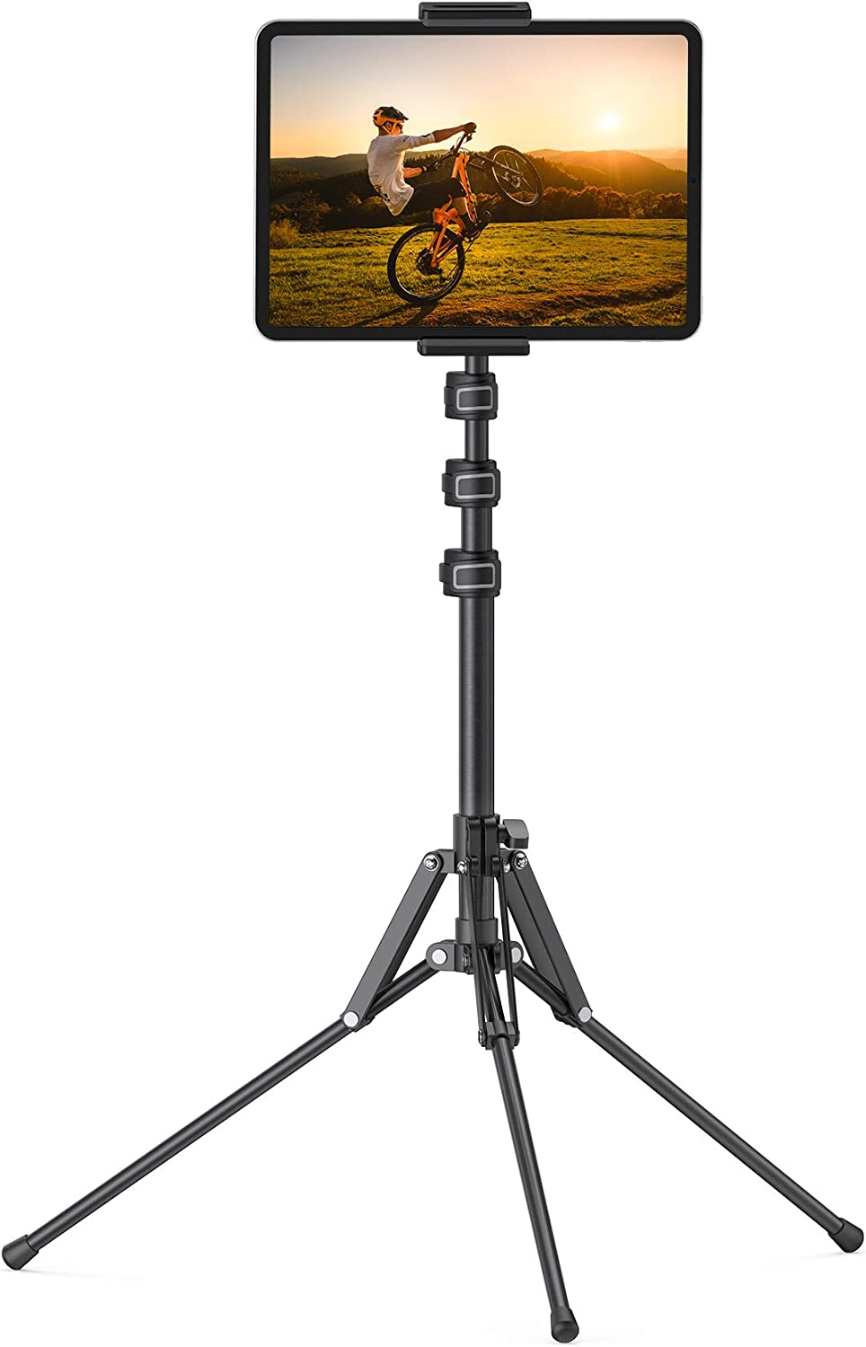 Lamicall Tablet Floor Tripod Stand - Tablet Holder Mount with Adjustable Height for Live Stream/Watching, Compatible with iPad Pro 12.9, Mini, Air, iPhone and 4.7-13