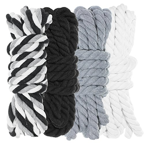 Twisted 3 Strand Natural Cotton Rope 40 and 100 Foot Kits in 1/4 Inch and 1/2 Inch – Soft Knot Tying Artisan Cord Decorative Crafting – Assorted Colors by West Coast Paracord