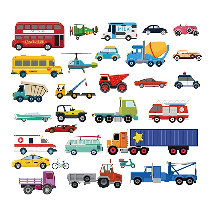 decalmile Cars Wall Stickers Transports Kids Room Wall Decor Peel and Stick Wall Decals for Boys Children's Room Nursery Bedroom Classroom
