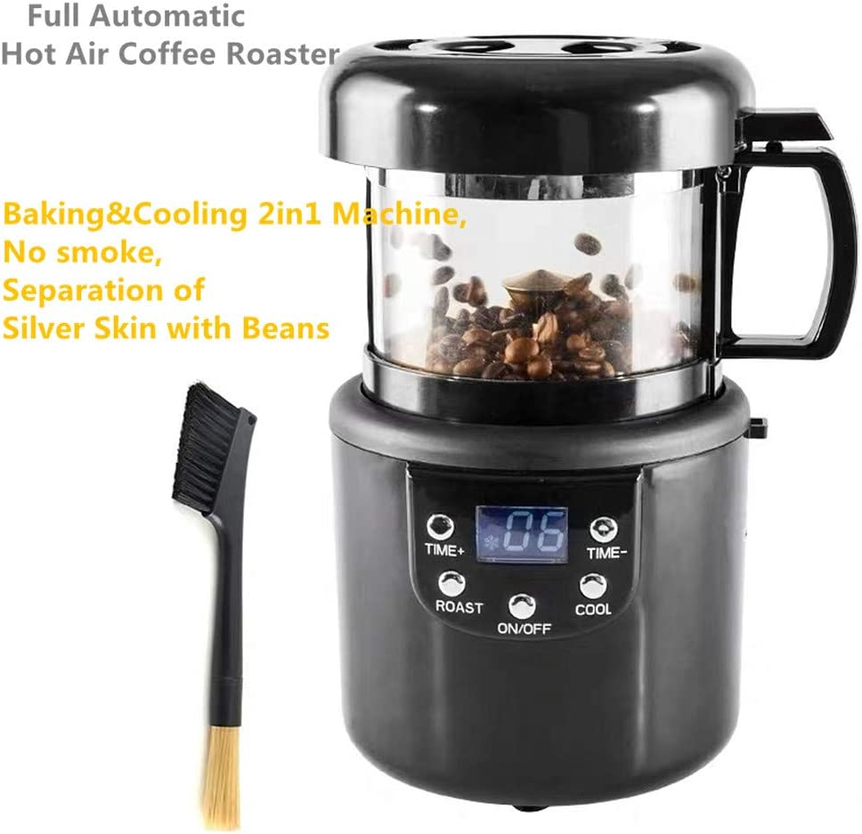 Electric Coffee Roaster Machine Home Commercial Small Full Automatic Hot Air Coffee Roaster Roasted Beans Grains Peanuts Nuts Coffee Bean Baking&Cooling 2in1 Machine, No smoke, Separation of Silver Skin with Beans (110V)