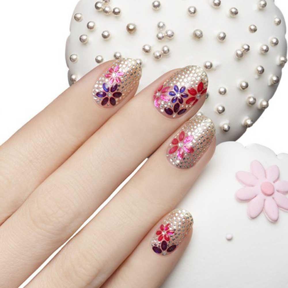 Anself 3d Mix Color Floral Design Nail Art Stickers Decals Manicure