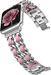 Wearlizer Chain Bands Compatible with Apple Watch Band 38mm 40mm for Women,iWatch Dressy Fancy Stainless Steel Leather Loop Replacement Strap Bracelet for Apple Watch Series 6 5 4 3 2 1 Silver+Pink