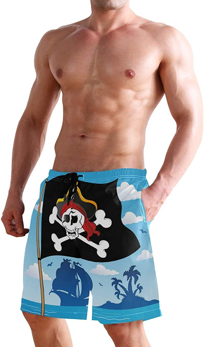 COVASA Mens Summer ShortsDanger Sign Beware of Pirates Skull with Hat Cross Bo