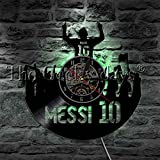 Lionel Messi 10 Vinyl Record Wall Clock Argentina Football Player Home Decor Wall Watch The Unstoppable Force Soccer Legend For Messi Fans (With Led)