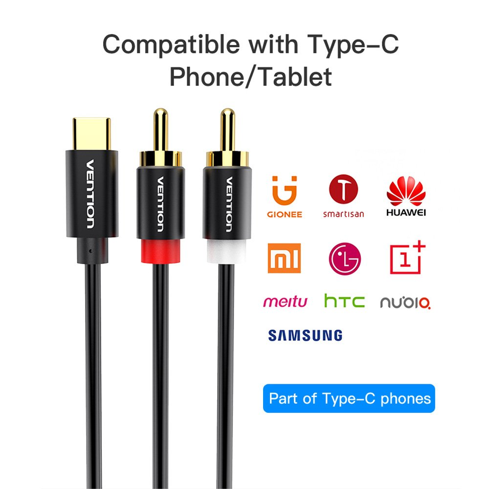 VENTION Type-C to Dual RCA Audio Cable Male to Male Gold Plated ...