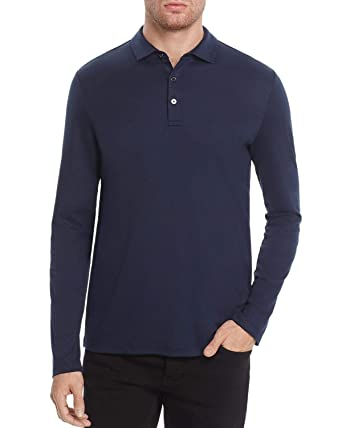 548030d98 Image Unavailable. Image not available for. Color: Michael Kors Mens Sleek Long  Sleeve Polo Shirt Small Midnight