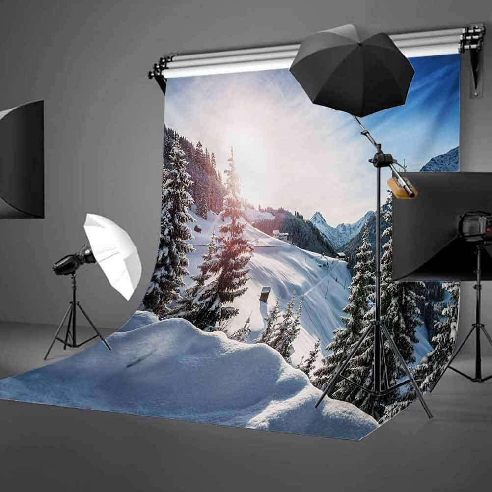 Winter 10x15 FT Backdrop Photographers,Europe Alps Rising Sun Peaceful Quiet Morning Scenery Snowy Hills ICY Weather Background for Baby Birthday Party Wedding Vinyl Studio Props Photography