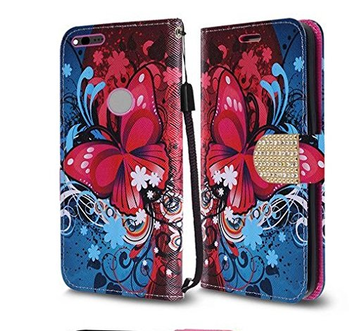 LG K20 V (VS501), LG K20 Plus, LG Harmony, LG Grace LTE Case, Luckiefind Designer PU Leather Flip Wallet Credit Card Cover Case, Screen Protector & Stylus Pen.(Wallet Butterfly Bliss)