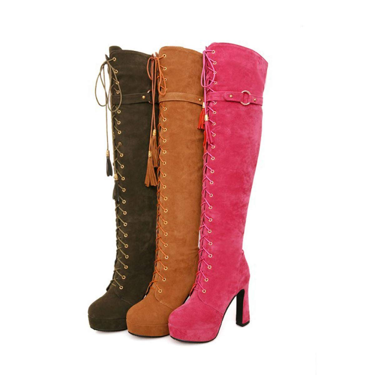 DANDANJIE DANDANJIE DANDANJIE Damenstiefel Overknee-Stiefel mit hohem Absatz Schnürschuh Coole Ritterstiefel für den Herbst-Frühling 1a9bcd