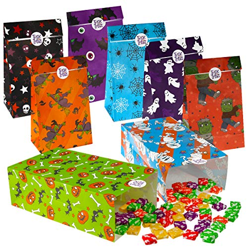 Halloween Paper Candy Bags (TOYMYTOY Halloween Treat Bags Candy Gift Bags,Paper Bags with Trick or Treat Stickers Gift Bags 72Pack, 8 Assorted Designs Holiday Gift Goodie)