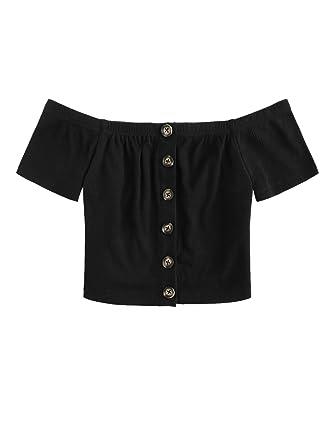 152c66ea5917e9 Floerns Women s Off Shoulder Short Sleeve Button Front Crop Top Blouse ...