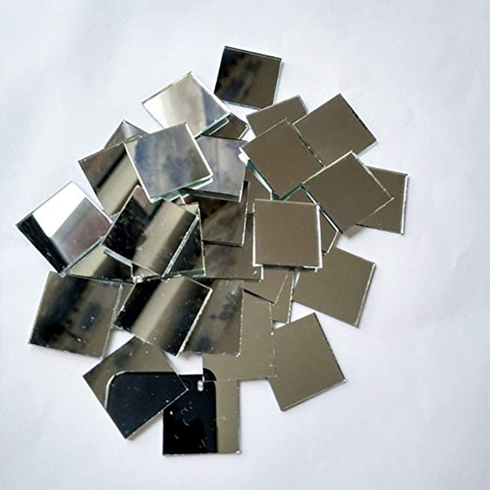 Healifty 200 Piezas Espejo Mosaico Azulejos de Mosaico de Vidrio Cuadrado Autoadhesivo Mini Vidrio Cuadrado para Diy Craft 1X1cm