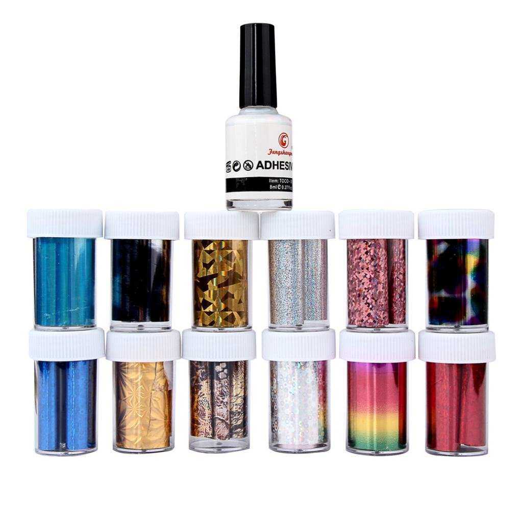 Sandistore Mouse over image to zoom Details about Nail Art Transfer Foil 12 Colors Sticker for Nail Tip Decoration &2 Glue Set