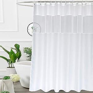 UFRIDAY Fabric White Shower Curtain with Mesh Window, Waterproof Bathroom Curtain with Weighted Bottom Hem, Machine Washable, 72 x 72 Inch