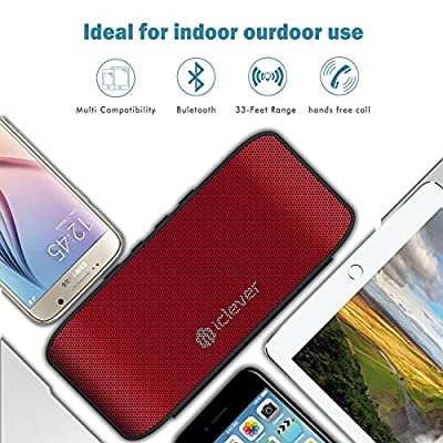 Desk Portable Stereo Speaker, iClever BoostSound Bluetooth Speaker with Rubber Piece, Compact Size, Lightweight, Metallic Lacquer Surface, Clear Microphone for Smartphones(BTS07), Red