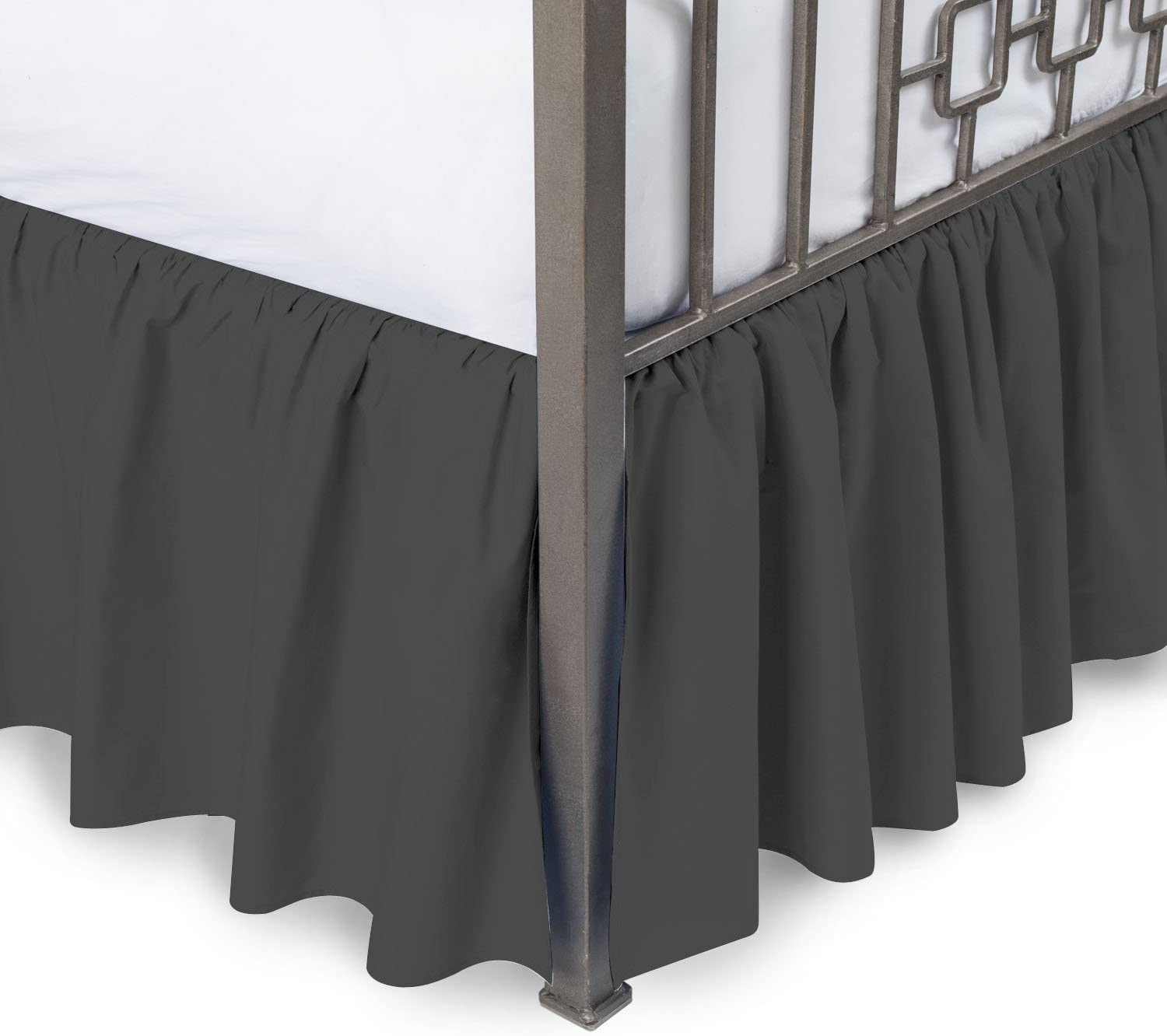 "Comfort Beddings 800TC Hotel Quality Pure Cotton Dust Ruffle Bed Skirt 24"" Drop Length Cotton (Queen - 24"" Drop, Dark Grey)"