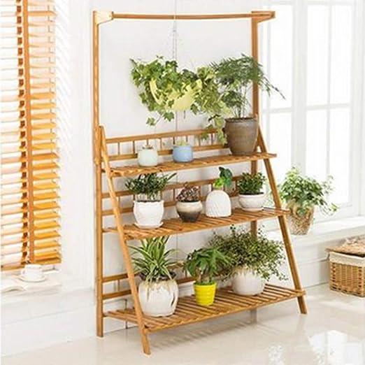 Estante plegable de madera de bambú para macetas de jardín, patio, escalera, hierbas, estante de almacenamiento: Amazon.es: Jardín