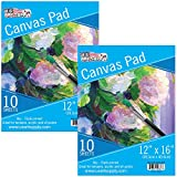 U.S. Art Supply 12'' x 16'' 10-Sheet 8-Ounce Triple Primed Acid-Free Canvas Paper Pad (Pack of 2 Pads)