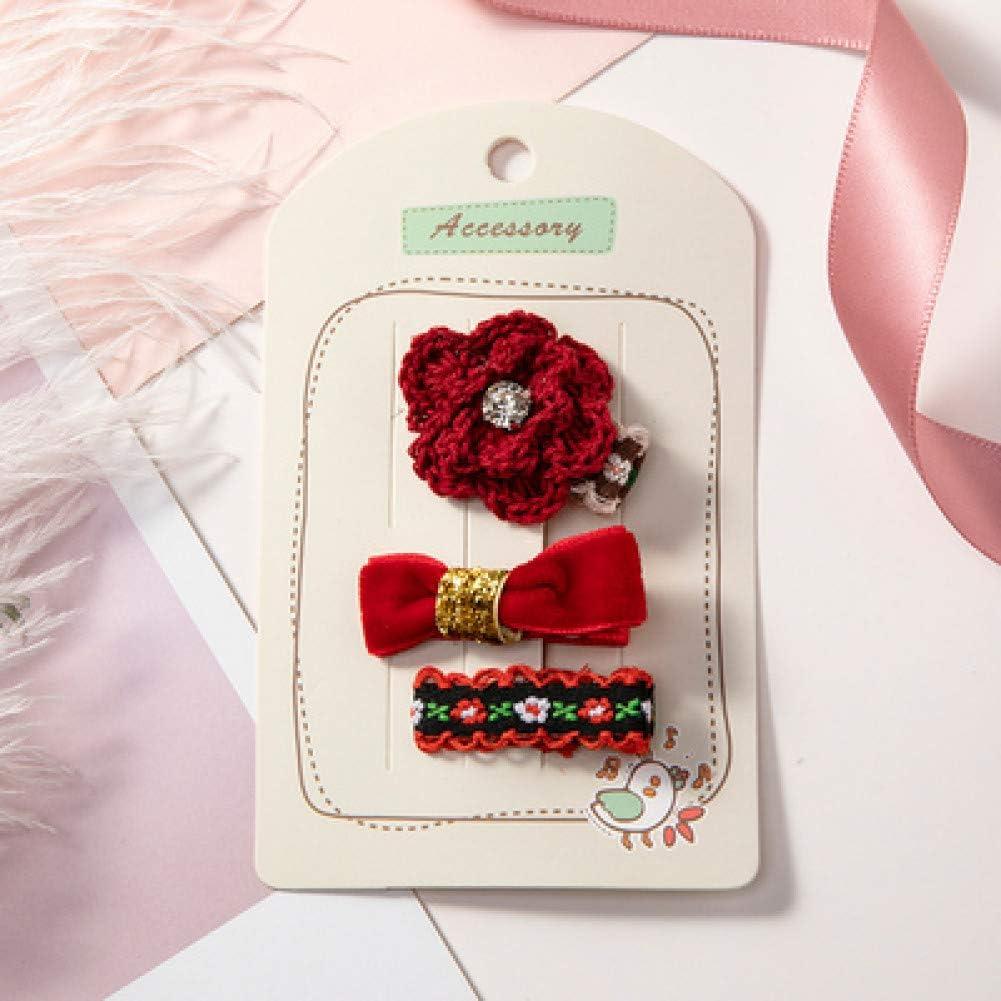 WREIJH 3Pcs Handmade Girls Cute Flower Bow Small Safety Hairpins Princess Lovely Headwear Barrettes Kids Headbands Hair Accessories