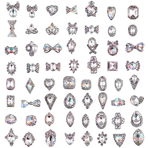 (60Pcs 3D Luxury Clear Shining Diamond Rhinestone Alloy Nail Art Decorations Charming Fashionable DIY Distinctive Nail Art Work )
