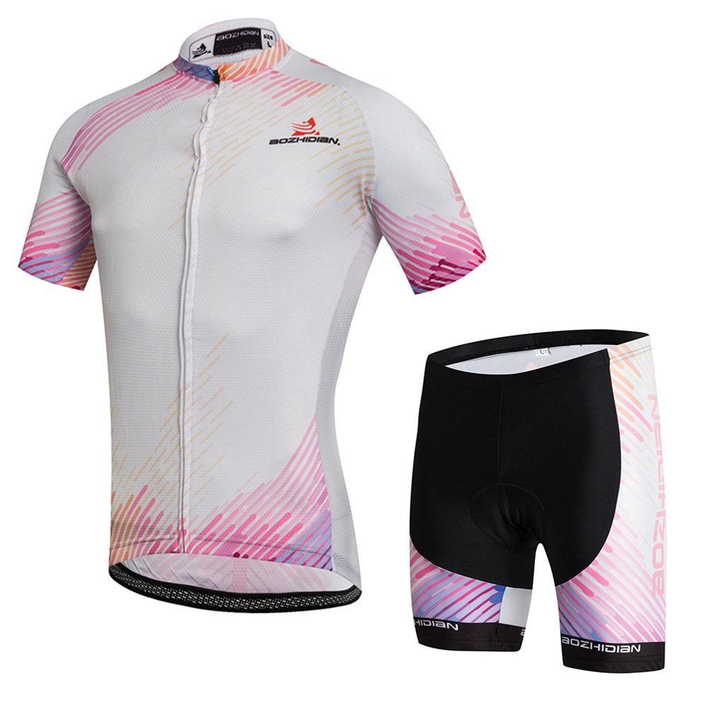 Uriah Women's Cycling Jersey Shorts Sets Short Sleeve Pink White Size 4XL(CN) by Uriah