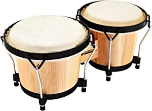 MUSICUBE Bongo Drum Set with Tuning Wrench Professional Wooden Percussion Instrument for Beginner Adults Kids (Natural Skin)