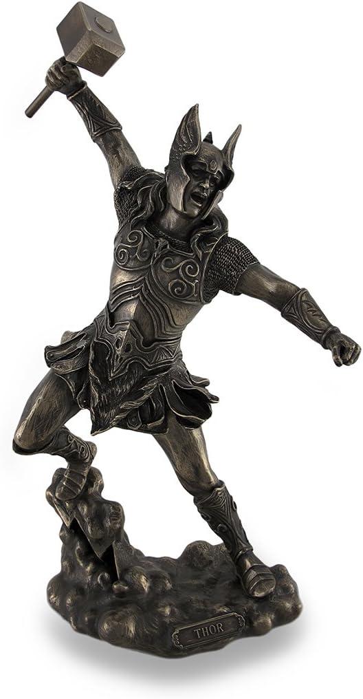 Amazon Com Veronese Design Thor Norse God Of Thunder Wielding Hammer Sculptured Bronzed Statue Home Kitchen