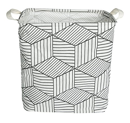 QFDSlive Laundry Hamper, Collapsible Rectangular Laundry Basket Storage with Carry Handles, Bathroom, Toys, Clothes, and More, (White)