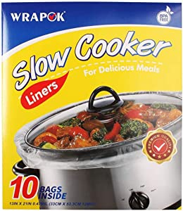 WRAPOK Slow Cooker Liners Cooking Bags BPA Free for Oval or Round Pot, Large Size 13 x 21 Inch, Fits 3 to 8.5 Quarts - 1 count (10 Bags Total)