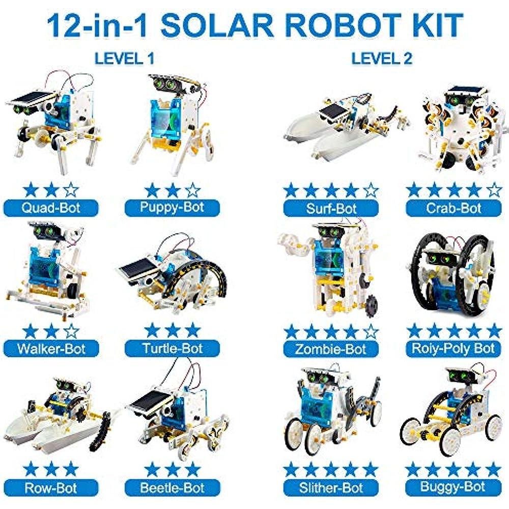 EZIGO STEM Toys 10 Year Olds 12-in-1 Solar Robot Kit ...