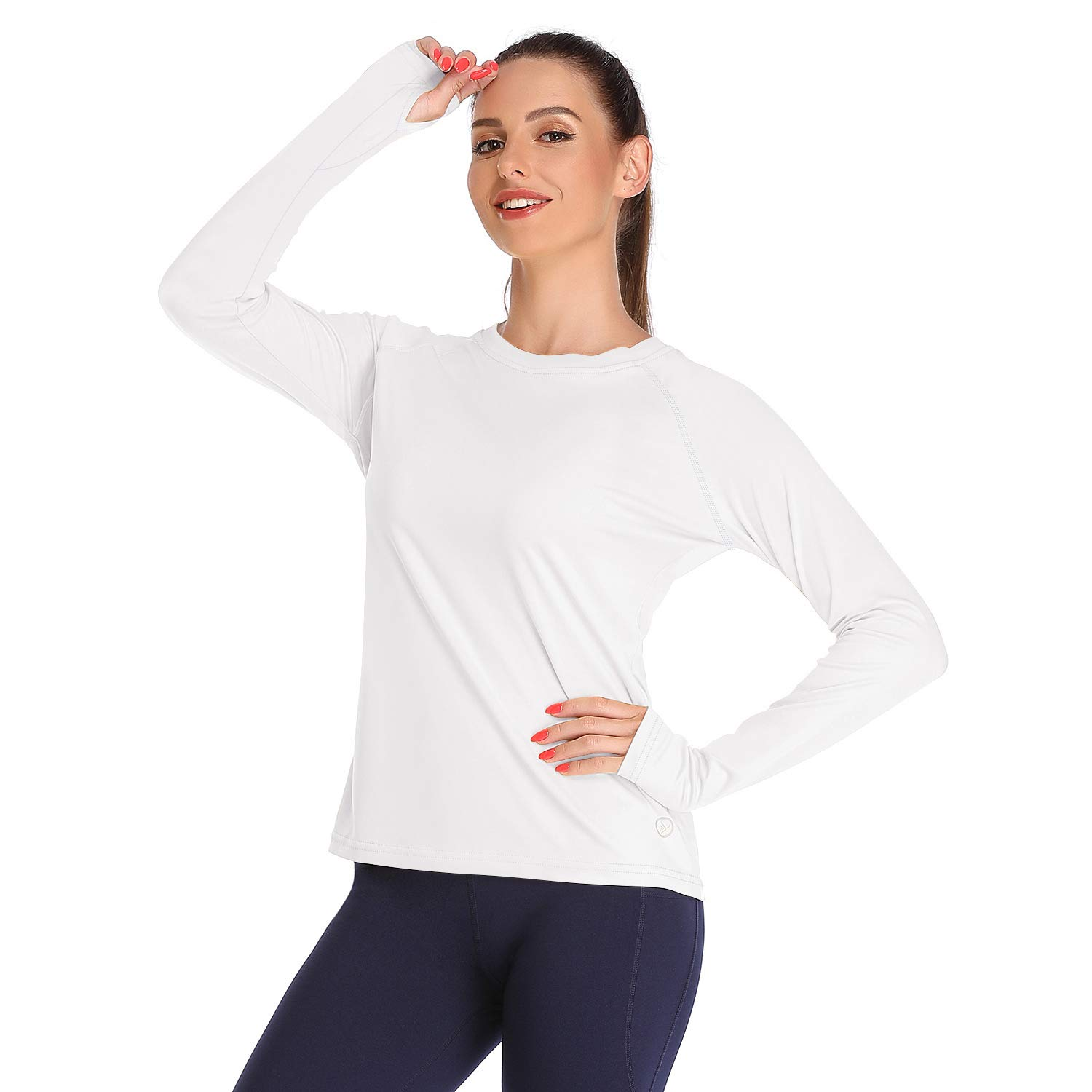 DAYOUNG Womens UPF 50+ UV Sun Protection Running Hiking Outdoors Performance Long Sleeve T-Shirt Athletic Top with Thumb Hole YWT11 White XXL by DAYOUNG