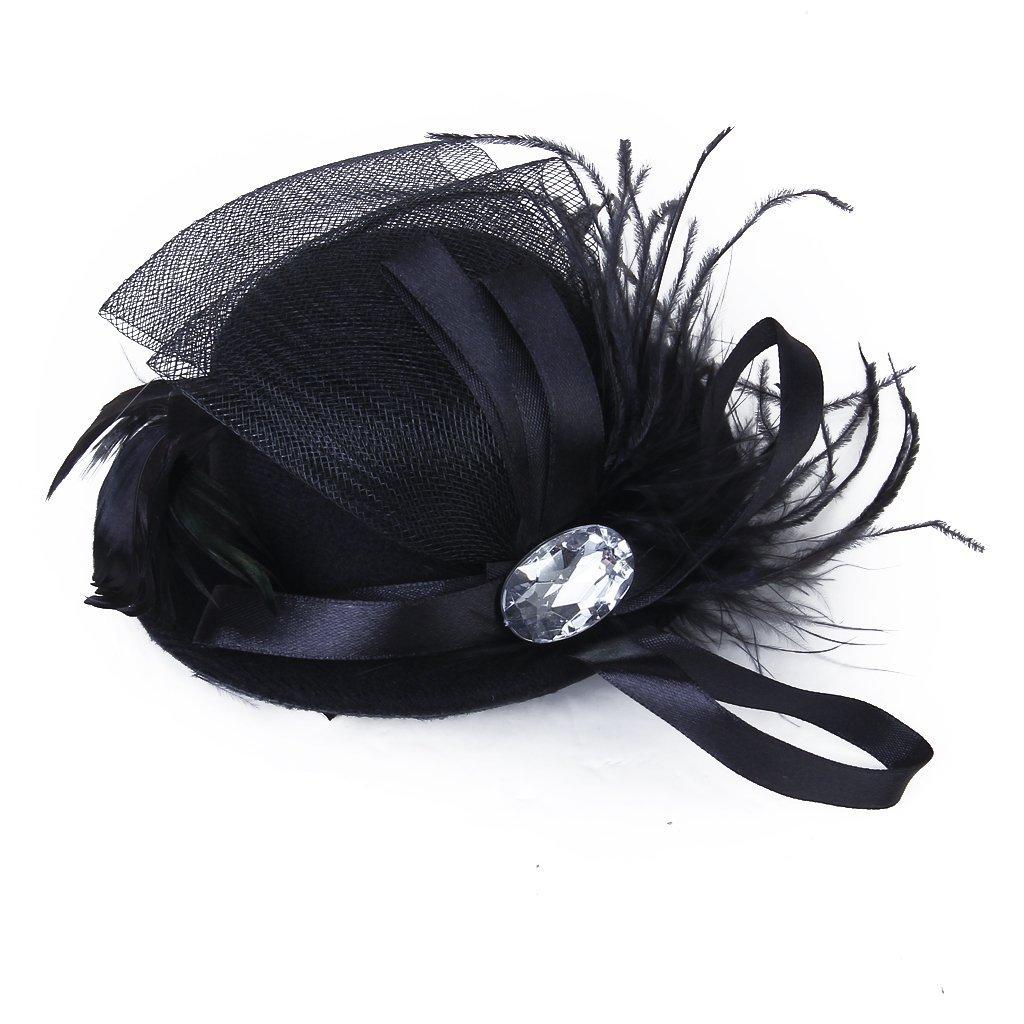 SODIAL(R) Donne Berretto Strass Clip capelli Burlesque Punk Mini cappello nero 011785