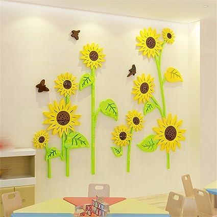 Amazon.com: Ghaif Sunflower acrylic 3d nursery wall decoration ...