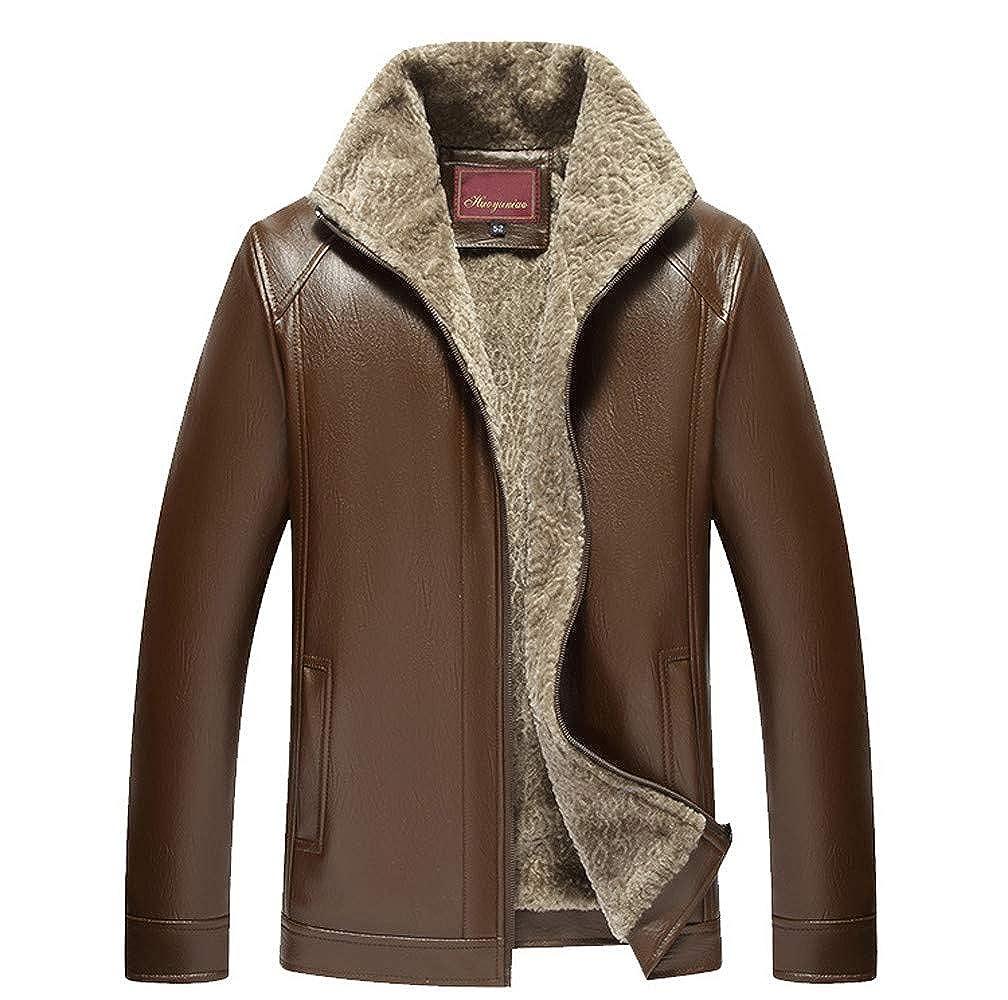 Roiper Hommes de Mode de l'hiver Veste de Couleur Pure Zipper Revers Revers Manteau en Cuir