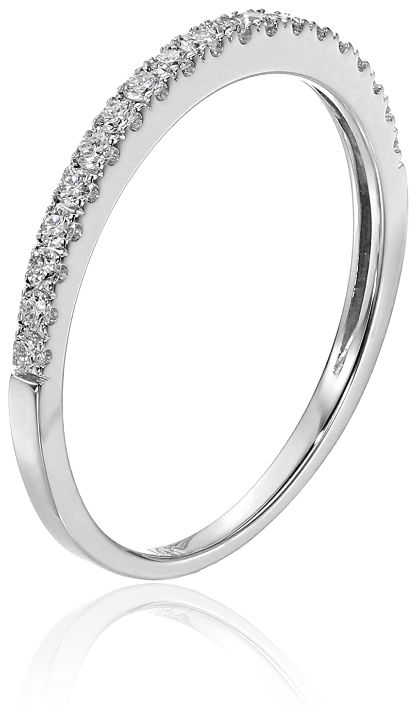 14k White Gold Round Diamond Micro-Pave Wedding Band (1/4cttw, H-I ...