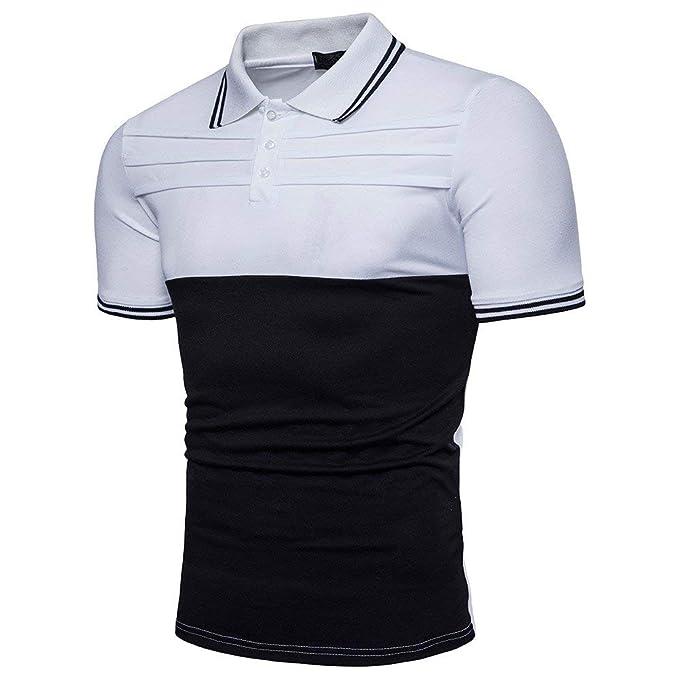 POLP Polos para Hombre Camisa con botón Blusa Casual de Manga Corta para Hombre Rosa Blanco
