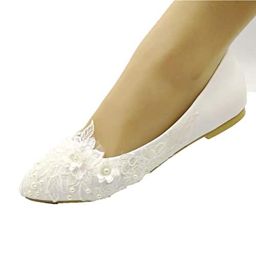 3bb328e74d Sweet Women Stylish Pearls Flat Wedding Shoes for Bride Floral ...