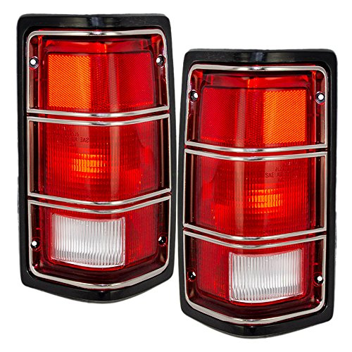 Pickup Tail Light Chrome Trim (Driver and Passenger Taillights with Black Housing & Chrome Trim Replacement for Dodge Pickup Truck 4169005 4169004)