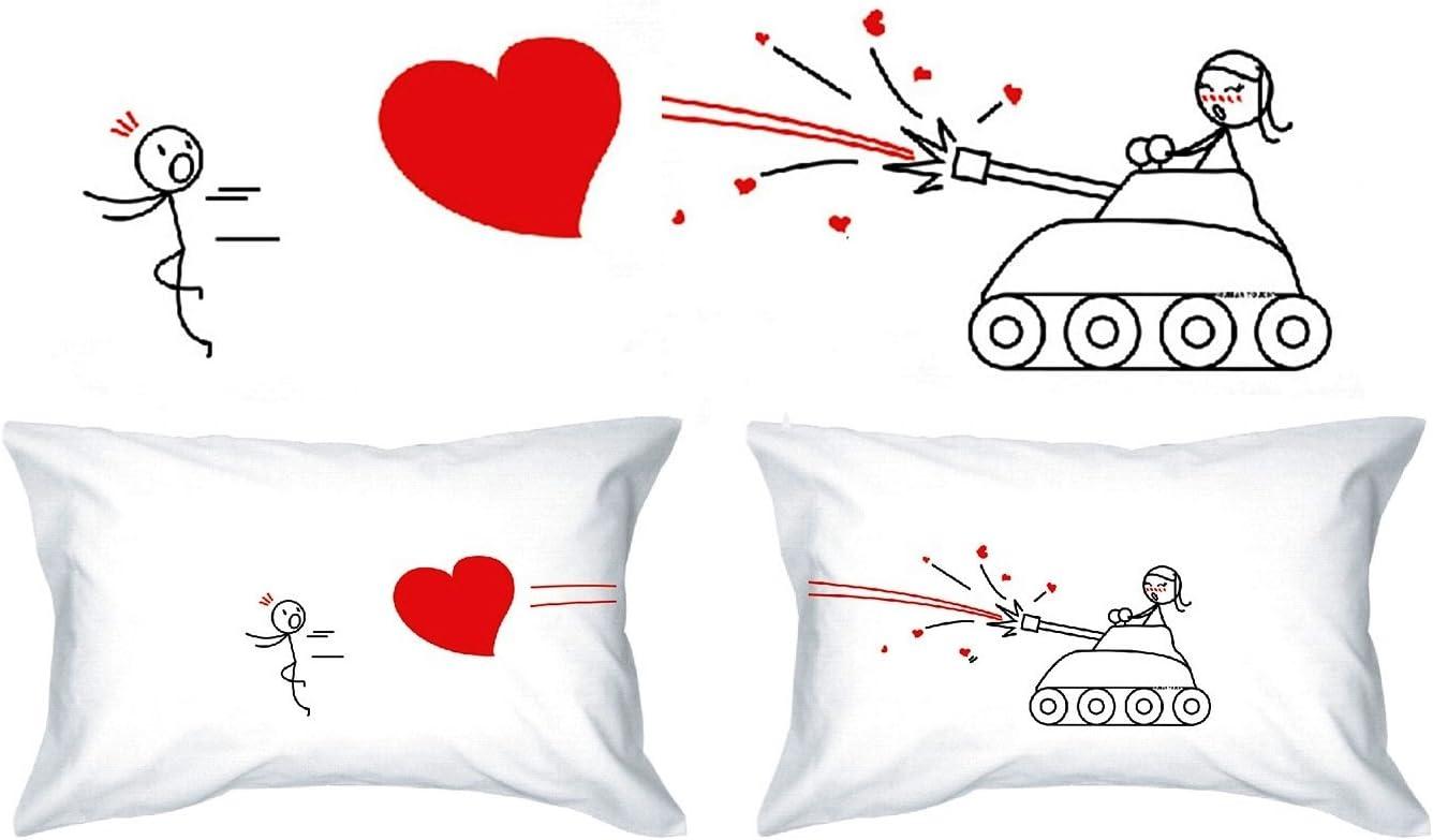 AZUL - De El y de ellas regalo de boda el regalo de aniversario rom/ántica peculiar o simplemente para elevar una sonrisa. AMOR EL SUSURRO regalo de San Valent/ín fundas de almohada Human Touch
