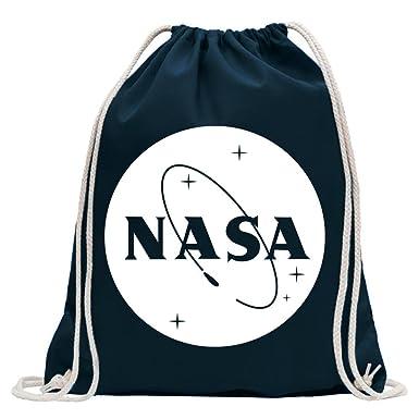 ee6ed20037c0b KIWISTAR - NASA Turnbeutel Fun Rucksack Sport Beutel Gymsack Baumwolle mit  Ziehgurt