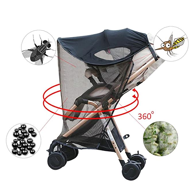 Eternitry Baby Stroller Sunshade Universal Anti Sunshine Pushchair Parasol Windproof Insect Mosquito Mesh Sunscreen Windshield Shield Protector