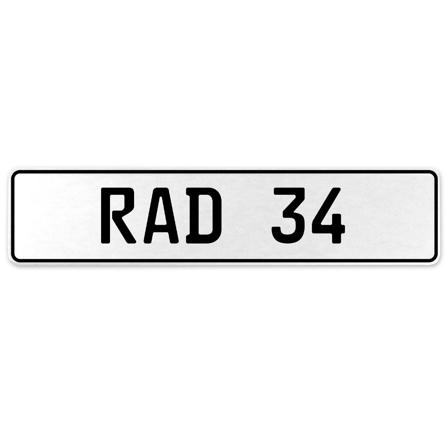 Vintage Parts 553938 RAD 34 White Stamped Aluminum European License Plate