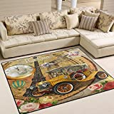 Floral French Paris Eiffel Tower Hot Air Balloon Vintage Poster Car Clock Area Rug Pad Non-Slip Kitchen Floor Mat for Living Room Bedroom 5' x 7' Door Mat Home Decor