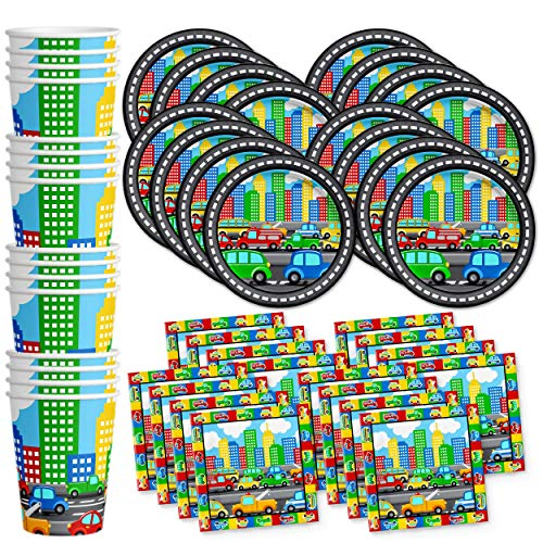 Little Cars & Trucks Birthday Party Supplies Set Plates Napkins Cups Tableware Kit for 16 -