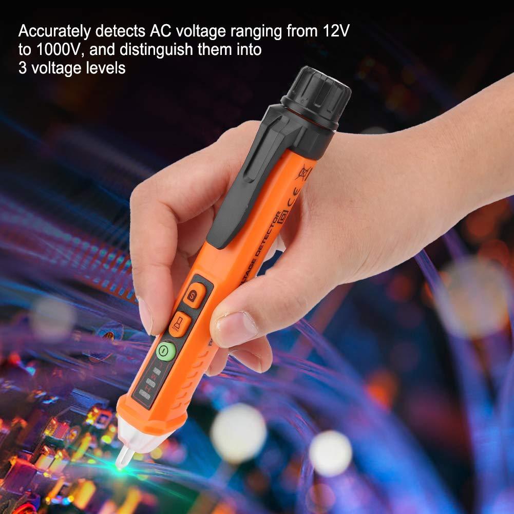 detector de voltaje de sensibilidad ajustable inteligente L/ápiz probador de voltaje de CA sin contacto prueba de corriente de seguridad con zumbador LED