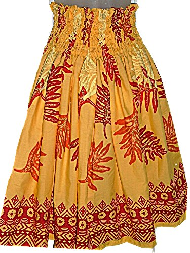 HAWAIIAN HULA PAU PA'U SKIRT YELLOW LEAF TRIBAL PATTERN