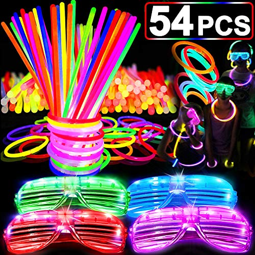 54 PCS Glow in The Dark Glow Sticks Bulk
